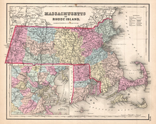 1857 Colton Map of Massachusetts and Rhode Island