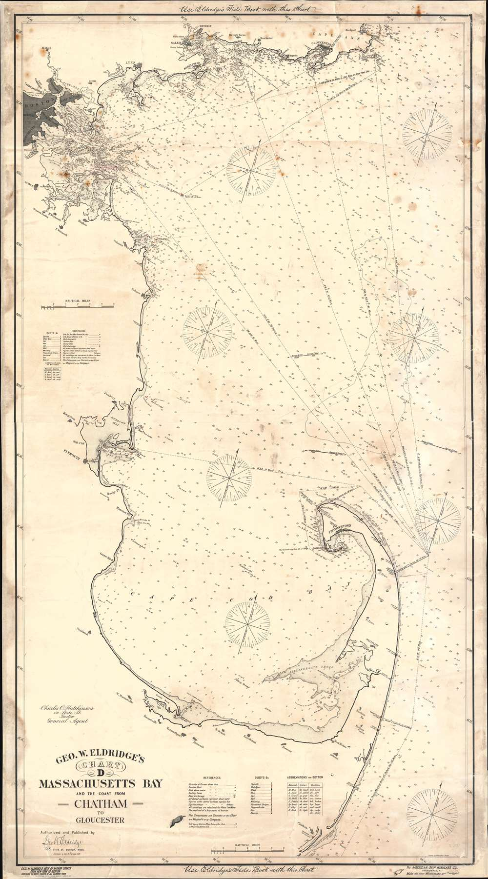 1904 Eldridge Nautical Chart / Map of Massachusetts Bay