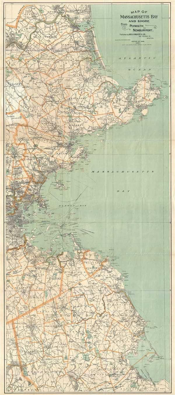 Map of Massachusetts Bay and Shore from Plymouth to Newburyport.