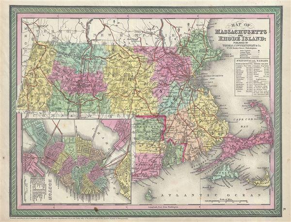 Map of Massachusetts and Rhode Island.