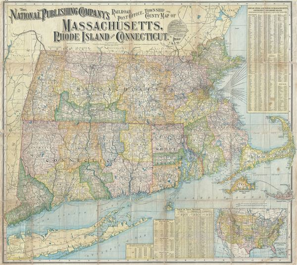 The National Publishing Company's Railroad, Post Office, Township and County Map of Massachusetts, Rhode Island and Connecticut.
