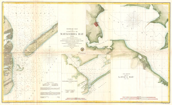 Preliminary Chart of the Entrance to Matagorda Bay, Texas.  / Sub-Sketch Part of Matagorda and  Lavaca Bays. / Sub-Sketch Part of Lavaca Bay.