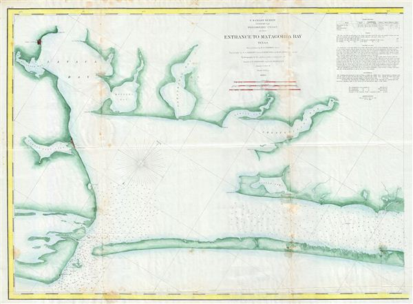 Preliminary Chart of the Entrance to Matagorda Bay Texas. - Main View
