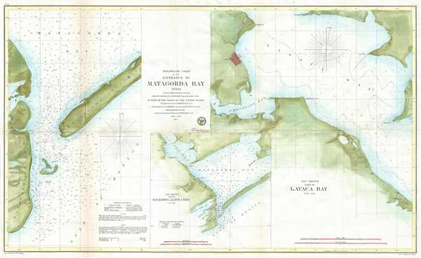 Preliminary Chart of the Entrance to Matagorda Bay, Texas.  / Sub-Sketch Part of Matagorda and  Lavaca Bays. / Sub-Sketch Part of Lavaca Bay. - Main View
