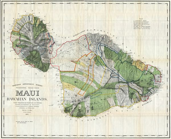 Hawaiian Government Survey, W.D. Alexander. Surveyor- General.Maui Hawaiian Islands.