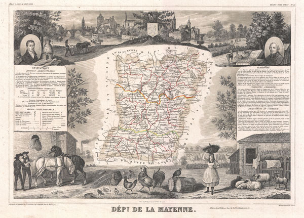 1852 Levasseur Map of the Department De La Mayenne, France