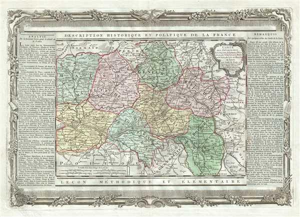Carte des Departemens de la Mayenne, de la Sarte, de Maine et Loire, d'Indre et de Loire, du Loir et du Cher, du Loiret, de la Vienne, de l'Indre, du Cher et de la Nievre, ainsi que celui des deux Sevre et de la Vendee.