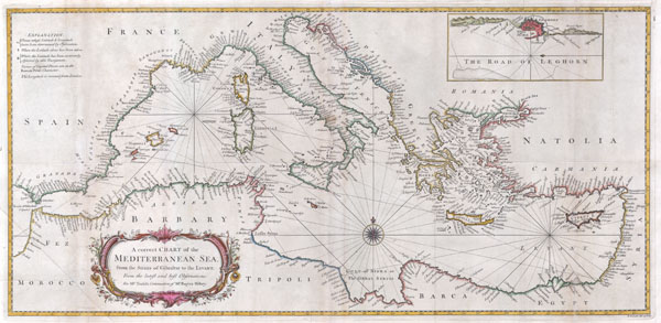 A correct Chart of the Mediterranean Sea, from the Straits of Gibraltar to the Levant; From the latest and best Observations: for Mr. Tindal's Continuation of Mr. Rapin's History..