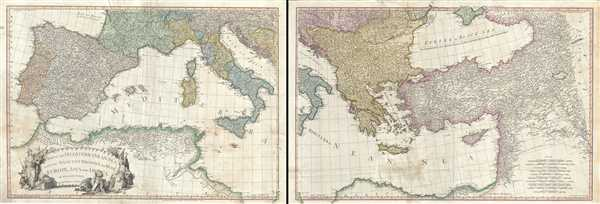 A Map of the Mediterranean Sea with the Adjacent Regions and Seas in Europe, Asia and Africa.