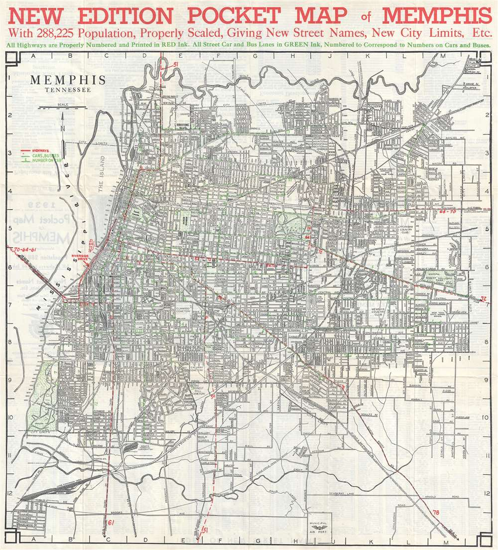 New Edition Pocket Map of Memphis.: Geographicus Rare Antique Maps