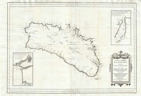 1786 Tofino Nautical Chart or Map of Menorca or Minorca, Spain