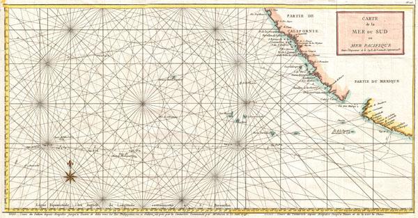 Carte de la Mer du Sud ou Mer Pacifique Entre l'Equateur et le 39 1.2 de Latitude Septentrionale.