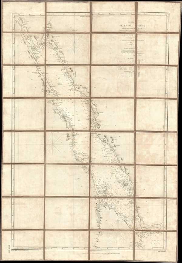 Carte de la Mer Rouge d'après les travaux exécuté de 1830 à 1834 par M.M. Elwon et Moresby, Officier de la Marine Anglaise des Indes, Corrigés en 1858 par le Capne. W.J.S. Pullen et les Officiers du Cyclops.