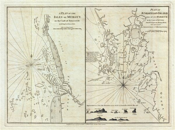 A Plan of the Isles of Merguy on the Coast of Tanasserim.  Plan of Junkseylon Island and of its Harbour on the Coast of Queda. - Main View
