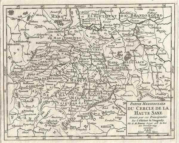 1749 Vaugondy Map of Southern Upper Saxony, Germany