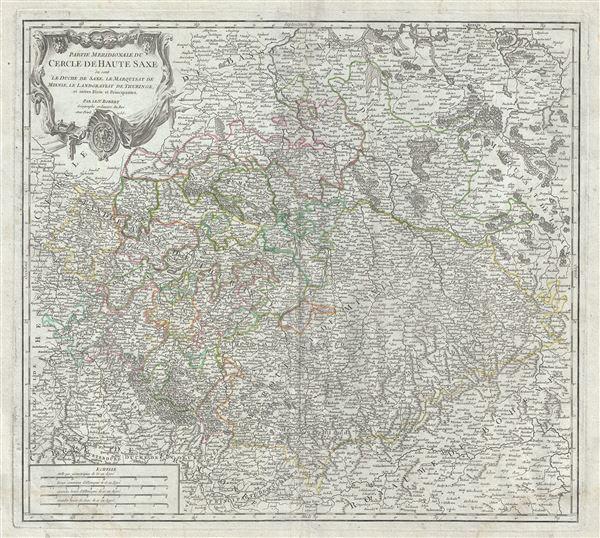 Partie Meridionale du Cercle de Haute Saxe ou sont le Duche de Saxe, le Marquisat de Misnie, le Landgraviat de Thuringe, et autres Etats et Principautes.