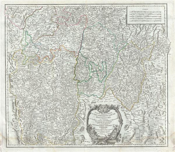 Partie Meridionale du Gouvernement Genl. de Bourgogne ou se trouvent les Bailliages d'Autun, et de Challon, le Maconois, la Bresse et le Bugey divises en leurs Mandemens.  Gouvernement General du Lyonois divise en Lyonois, Forez et Beaujolois.