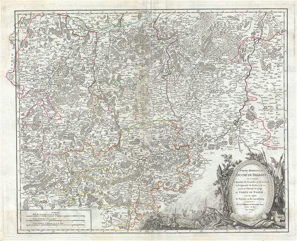 Partie Meridion. du Duche de Brabant ou se trouvent le Quartier de Bruxelles et de Louvain, la Seigneurie de Malines; et une partie de l'Eveche de Lyege, le Comte de Namur, avec les confins du Haynaut et du Luxembourg. - Main View