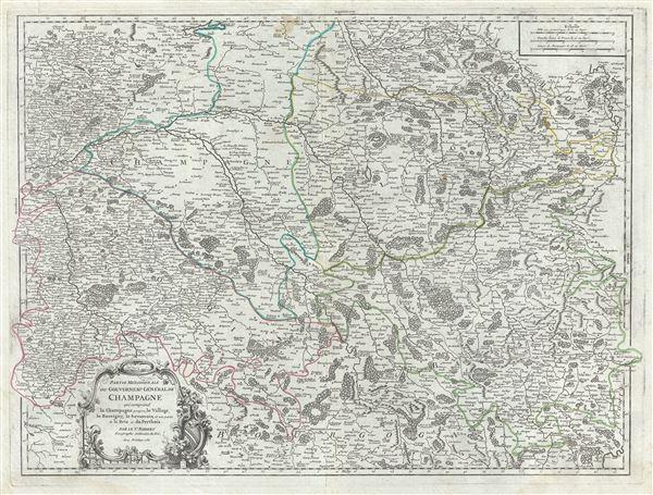 Partie Meridionale du Gouvernemt. General de Champagne qui comprend la Champagne propre, le Vallage, le Bassigny, le Senonois, et une partie de la Brie et du Perthois.