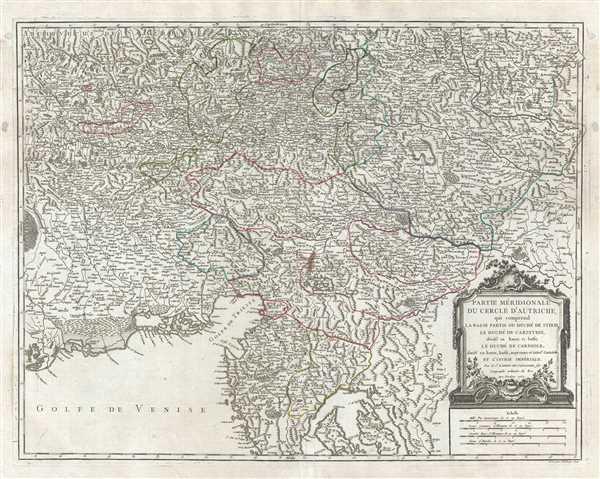Partie Meridionale du Cercle d'Autriche, qui comprend la basse partie du Duche de Stirie, le Duche de Carinthie, divise en haute et basse; le Duche de Carniole, divise en haute, basse, moyenne et intere. Carniole, et l'Istrie Imperiale.