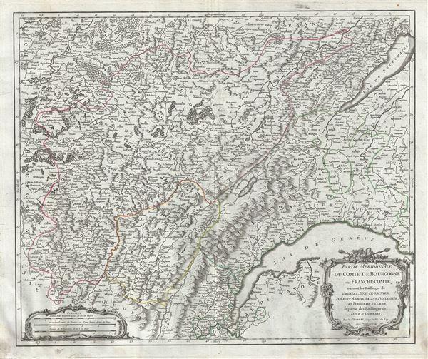 Partie Meridionale du Comte de Bourgogne ou Franche-Comte, ou sont les Bailliages de Orgelet, Lons-le-Saunier, Poligny, Arbois, Salins, Pontarlier, les Terres de St. Claude, et partie des Bailliages de Dole et Dornans. - Main View