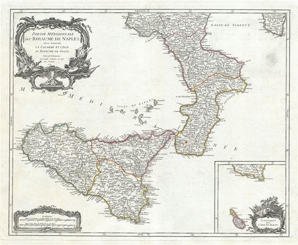 Partie Meridionale du Royaume de Naples, ou se trouvent la Calabre et l'Isle et Royaume de Sicile.
