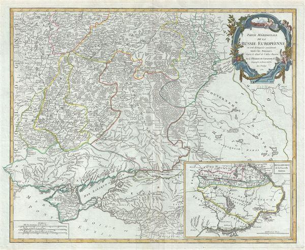 Partie Meridionale de la Russie Europeenne ou sont distinguees exactement toutes les Provinces.