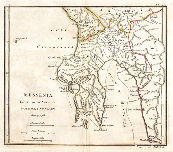 Bocage's Map of Messenia in Ancient Greece. - Main View