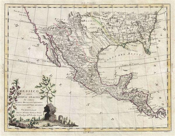 Messico ouvero Nuova Spagna che Contiene il Nuovo Messico la California con una Parte de' Paesi Adjacenti.
