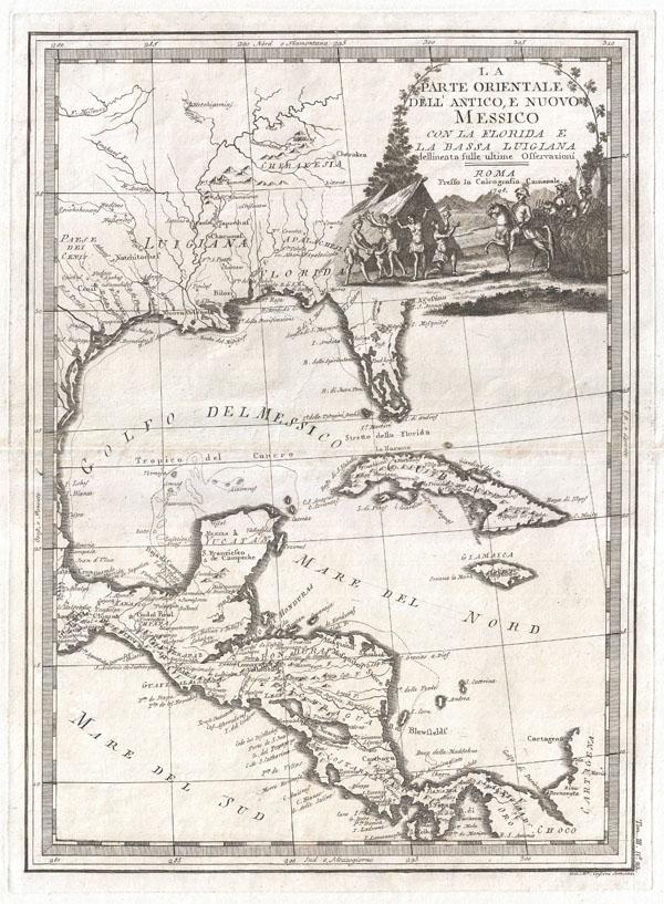 La parte orientale dell'antico e nuovo Messico con la Florida e la Bassa Luigiana dellineata sulle ultime osservazioni.