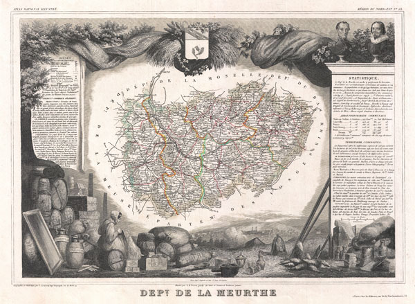 1852 Levasseur Map of the Department De La Meurthe, France