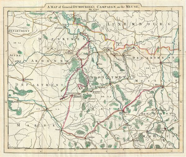 A Map of General Dumourier's Campaign on the Meuse in 1792. - Main View