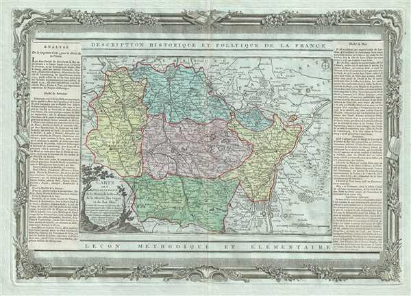 Carte des Departemens de la Meuse, de la Moselle, de la Meurte, des Voges, et du Bas Rhin.