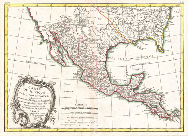 Carte du Mexique ou de la Nlle. Espagne Contenant aussi le Nouveau Mexique, la Californie, avec une Partie des Pays adjacents.