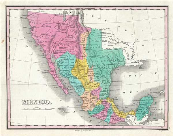 1828 Finley Map of Mexico, Upper California and Texas