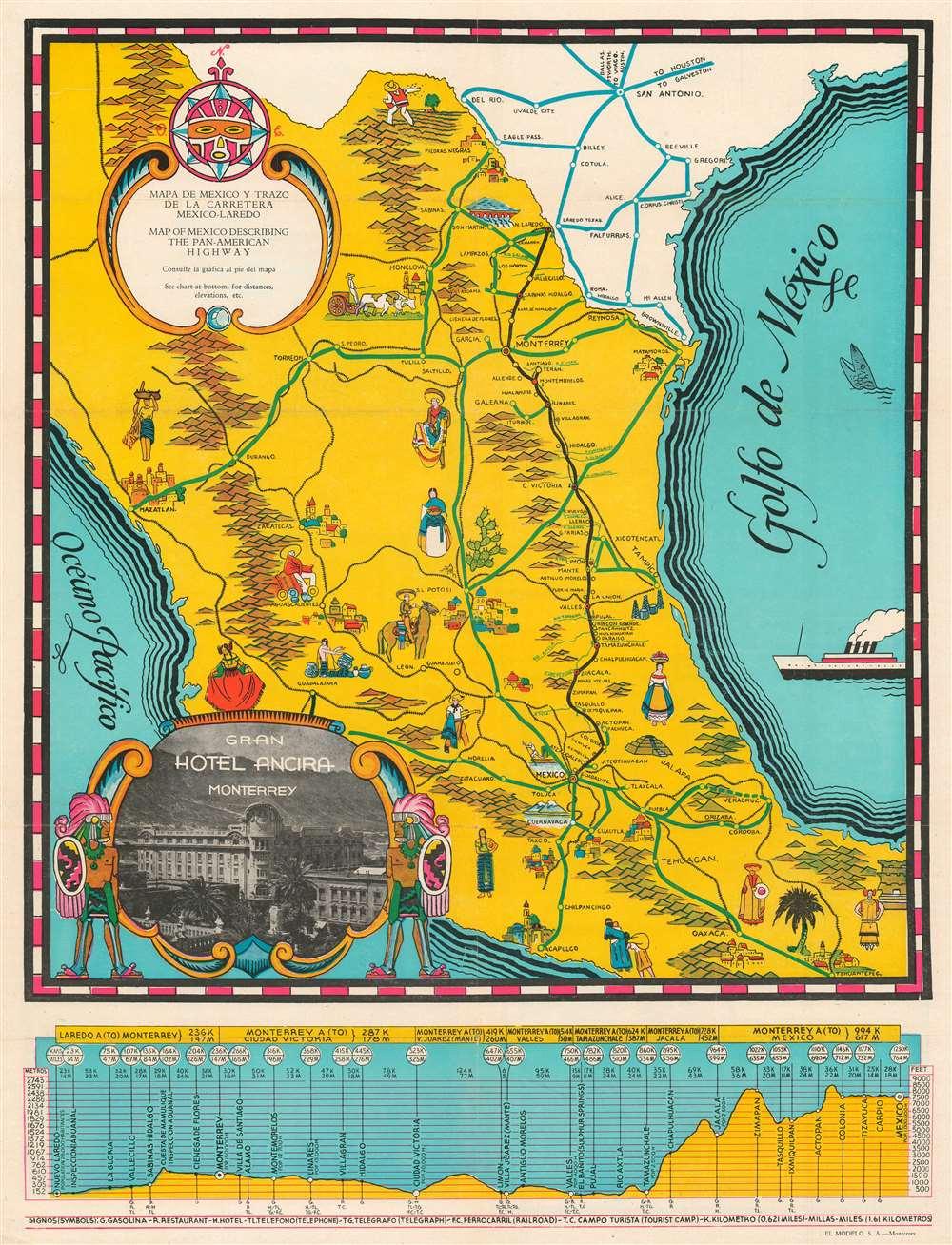 Mapa de Mexico y Trazo de la Carretera Mexico-Laredo. Map of Mexico Describing the Pan-American Highway. - Main View
