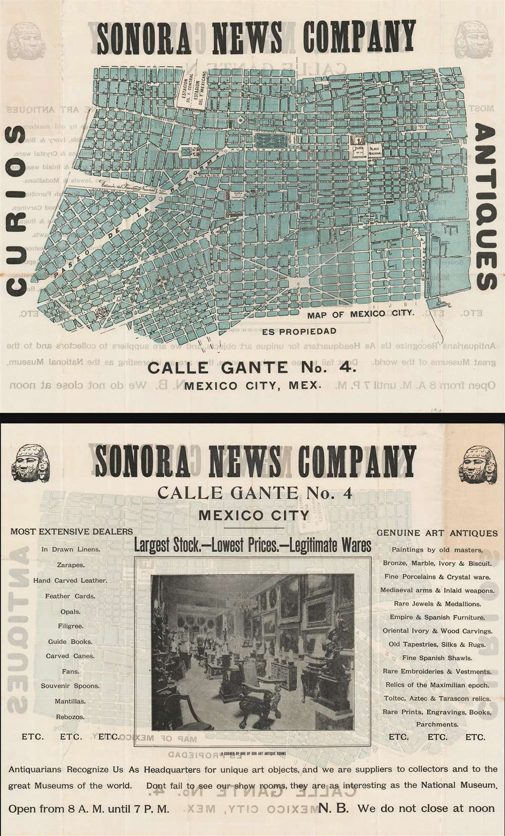 Sonora News Company. Map of Mexico City. - Main View