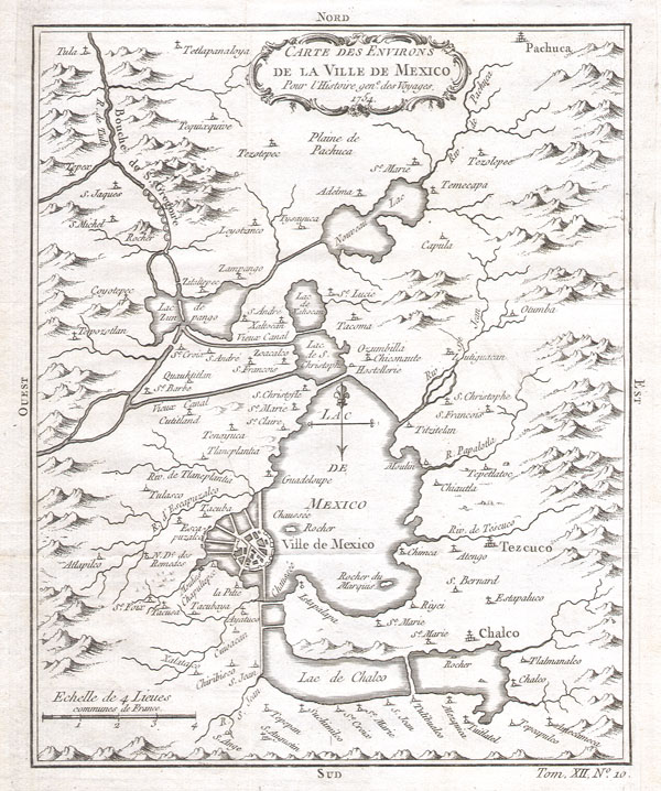 Carte des Environs de La Ville de Mexico pour l'Histoire gen. des Voyages. 1754. - Main View