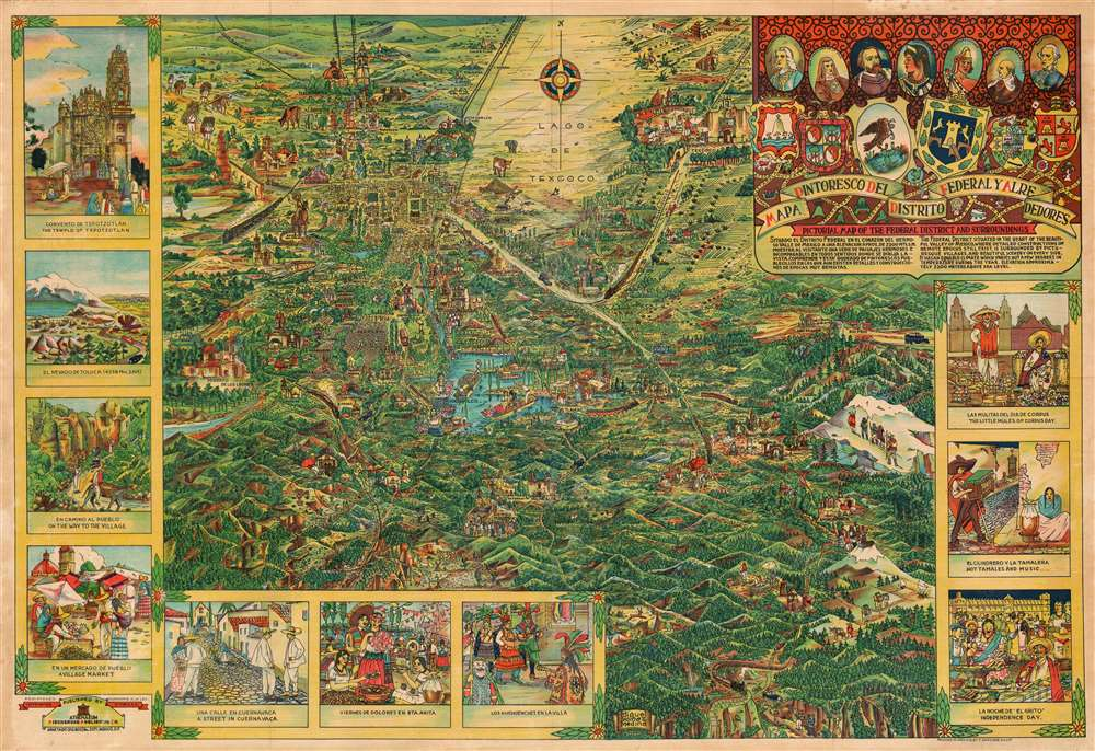 Mapa Pintoresco del Distrito Federal y Alrededores. Pictorial Map of the Federal District and Surroundings.