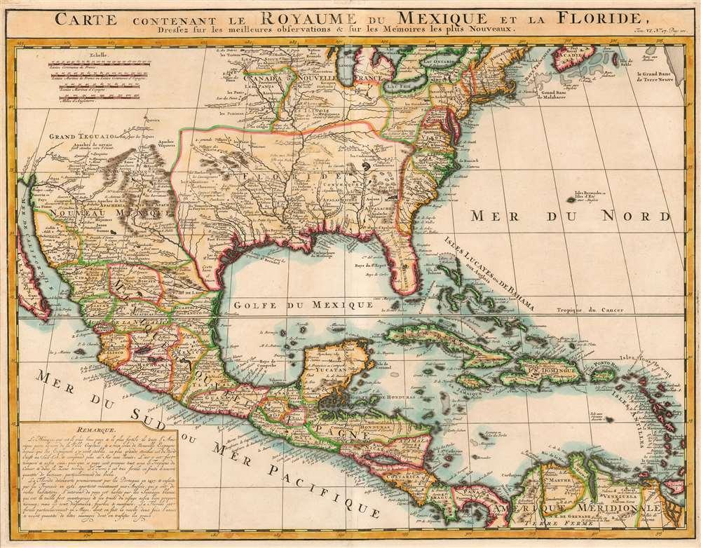 Carte Contenant le Royaume du Mexique et la Floride . - Main View