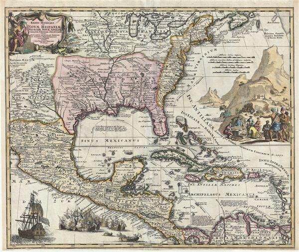 Regni Mexicani seu Novae Hispaniae, Floridae, Novae Angliae, Carolinae, Virginiae et Pensylvaniae, nec non Insularum, Archipelagi Mexicani in America Septentrionali.
