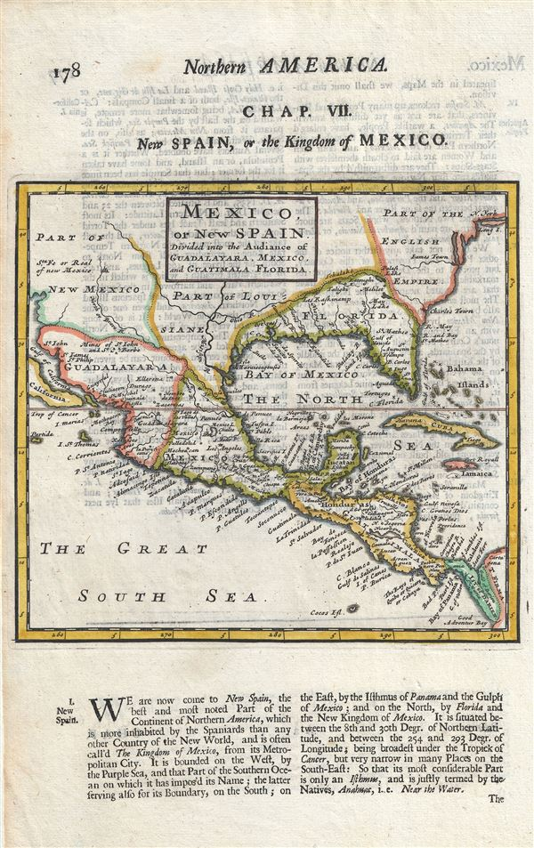 Mexico, or New Spain Divided into the Auddiance of Guadalayara, Mexico, and Guatimala, Florida.