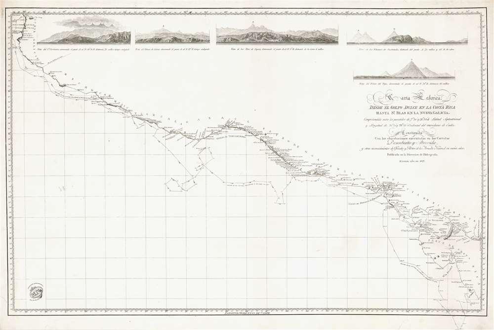 Carta Esferica desde el Golfo Dulce en la Costa Rica hasa Sn. Blas en la Nueva Galicia. - Main View