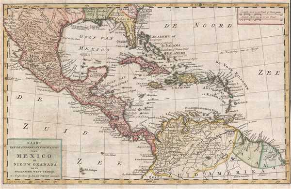 Kaart van de Onderkoningschappen van Mexico en Nieuw Granada in de Spaansche West-Indien.