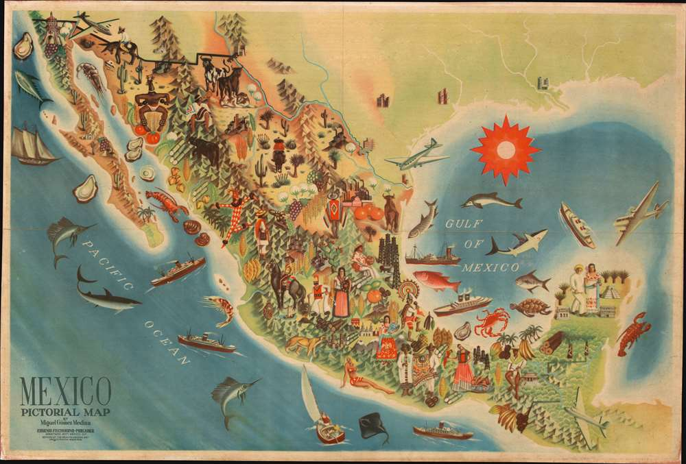 Mexico Pictorial Map. - Main View