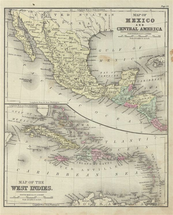 Map of Mexico and Central America.  Map of the West Indies.