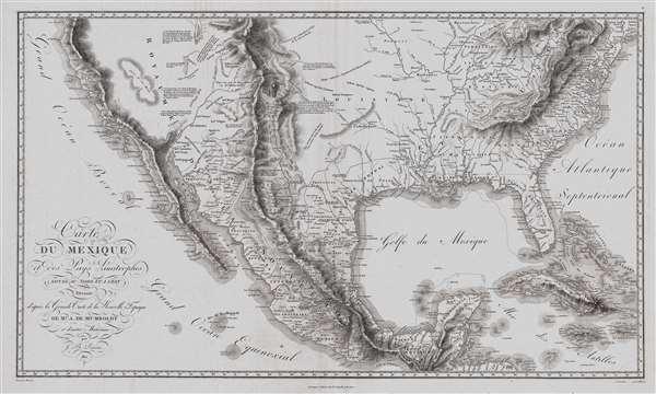 Carte Du Mexique et des Pays Limitrophes Situes Au Nord et a l'est Dressee d'apres la Grande Carte de la Nouvelle Espagne De Mr. A. De Humboldt et d'autres Materiaux par J.B. Poirson.