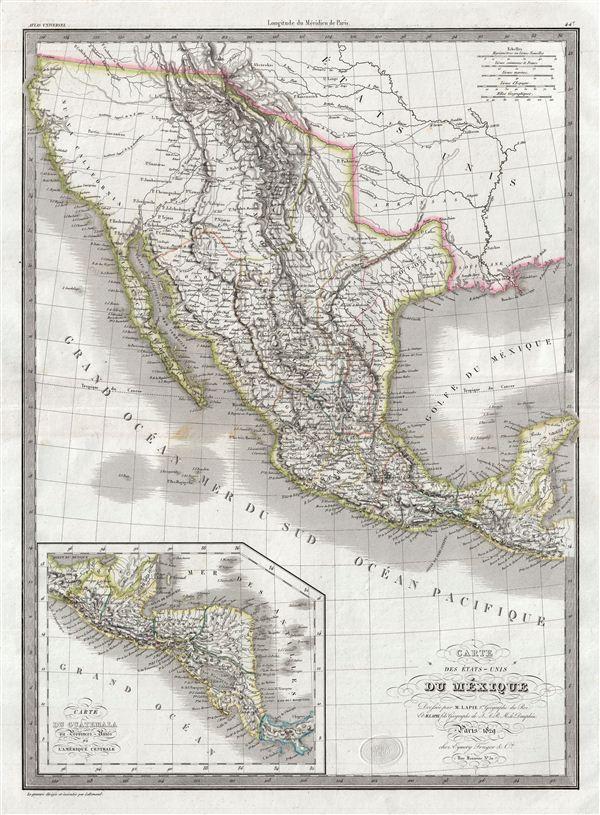 Carte des Etats-Unis du Mexique. - Main View