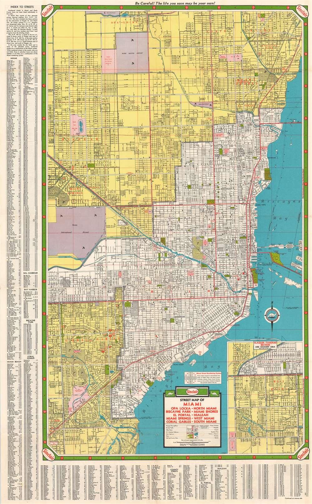 Sinclair Street Map of Miami - Opa Locka - North Miami - Biscayne Park - Miami Shores - El Portal - Hialeah - Miami Springs - West Miami - Coral Gables - South Miami. - Main View