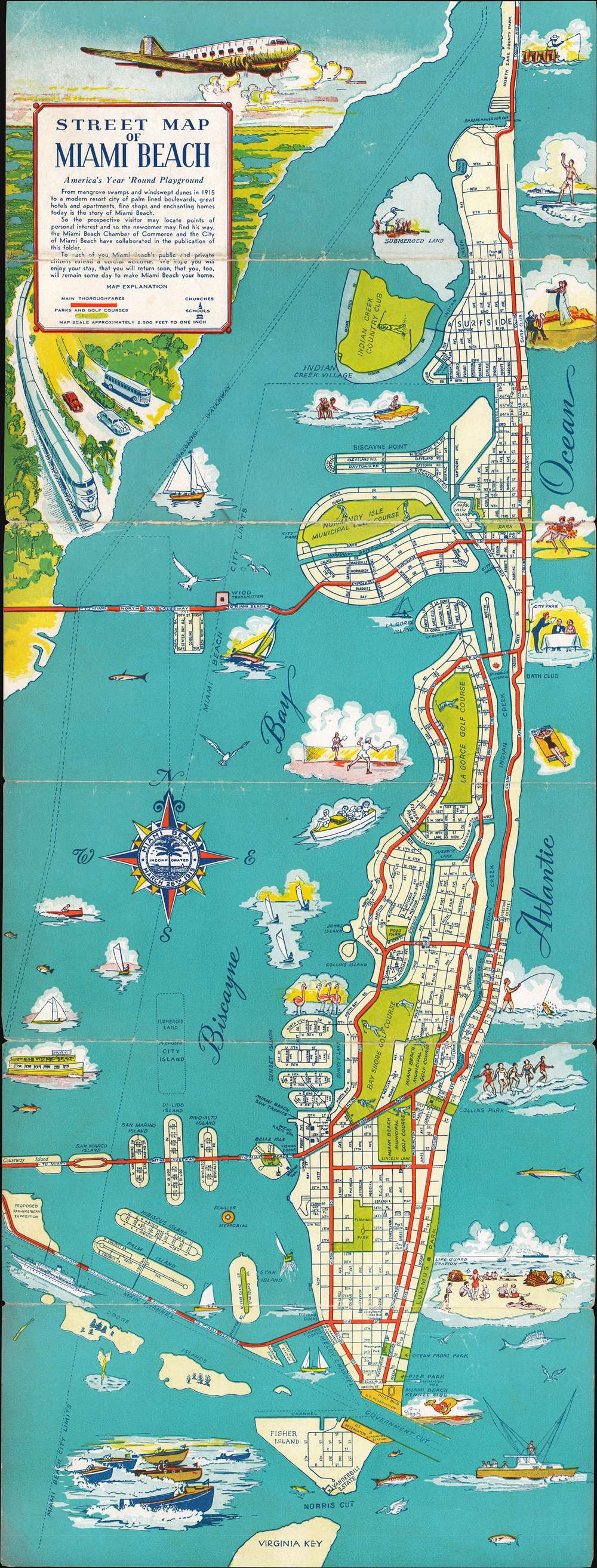 1945 Miami Chamber of Commerce City Plan or Map of Miami Beach, Florida